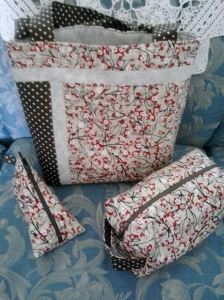 Cherry Blossom bag set from KnittyKatBags!