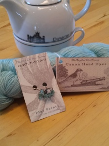 Lady Sybil sock yarn and matching stitch markers from Canon Hand Dyes
