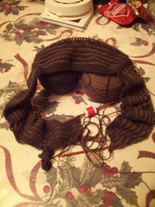 "Clockwork Shawl by Stephen West using Cascade Heritage sock solids ""Walnut"" & ""Mossy Rock"""