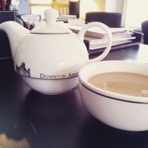 Downton Abbey tea-for-one set Emily had gifted to Katy for Christmas