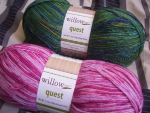 Peacock and Pink Cockatoo sock yarn from WillowYarns.ca
