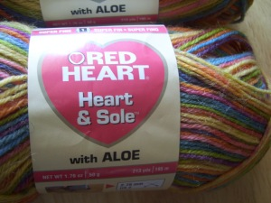 Red Heart's Heart & Sole in Mellow Stripes