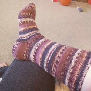 Red Heart Heart & Sole sock in 'Toasted Almond'