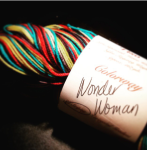 Wonder Woman Self-Striping sock yarn from Desert Vista Dyeworks