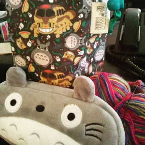 Forest Friends bag and Totoro notions pouch from Little Skein in the Big Wool